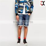2015 straight leg fit firm stretch denim turned up cuffs short half pants jeans men JXQ978