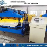 Color Coated Steel Roof Tile Roll Forming Making Machine , Chain Chain Transmission Step Roof Tile Roll Former Machine