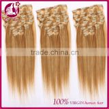 "clip in sets products 7pcs clip in human hair extensions 10""-26"" straight blonde 6A grade human hair extensions"