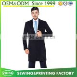 Men's slim fit long suit new design black woolen blazers long suit customized