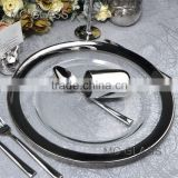 Wholesale Fancy Events and Catering Gold Silver Rimmed Glass Wedding Charger Plate