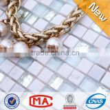 HF JTC-1313 simple glass stone mosaic wall tile clear glass mix quartz stone super white mosaic kitchen backsplash tile designs