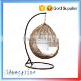 Cheap price indoor outdoor patio rattan wicker hanging egg swing chair with metal stand