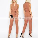 New fashion 100% polyester sleeveless adult one piece wrapped jumpsuit with belt 2016 wholesale