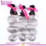 Factory price brazilian sliver grey ombre human hair extensions body wave two tone grey human hair weaving