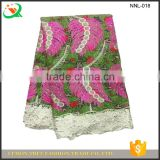 Fantastic wax lace fabrics african super wax hollandaise with big leaves embroidery design guipure lace