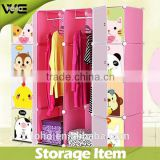 pp clothes wardrobe with 8 small cube and 2 lage cube,DIY design bedroom cute animal print kids plastic wardrobe