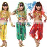 Supply Wholesale indian girl sexy dance Professional kids Belly Dance costume Top & Pant & Belt for Girl