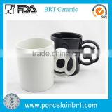 Special Handled White Black Ceramic Coffee Mug