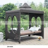 popular garden ratttan swing bed with canopy/ outdoor rattan hanging swing