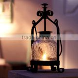 European Vintage Iron Glass Wedding Candle Lamp Portable Lantern Candle Holders Room Decoration Romantic Candlestick