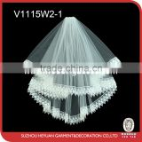 V1115W2-1 Graceful water-soluble lace edged wedding bridal veil