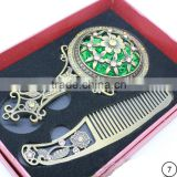Fashion Promotional Metal Gift Mirror,Imitation Cosmetic Hand Mirror with Hair Comb