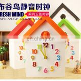 Plastic Candy Color House Shape Cuckoo Wall Clock