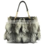 2016 fashion style luxury fox fur lady bag for women hot sale fur handbag