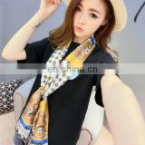 2017 spring and autumn all-match small scarf women's summer short print silk scarf silks and satins cravat