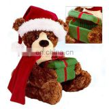 Excellent Christmas gift Red X'mas hat and scarf Teddy bear holding a green gift box