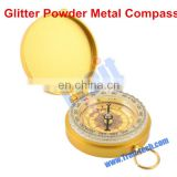 Pocket Watch Style Precisely Made Handy Instrument Glitter Powder Metal Compass (Golden)