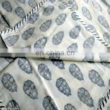 lozenge shap Indian Voile Cotton White Damask Hand Block Printed AC Quilt Dohar