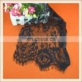 Hot sale black eyelash lace fabric flower design elegant bridesmaid dress fabric