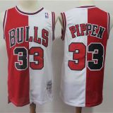 Chicago Bulls #33 Pippen Throwback white&red Jersey