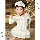 wholesale lovelybabies clothing polka dot cotton fall sleeve ruffle top with headband decorative for baby girls