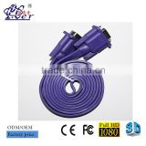 poly bag packing flat vga D-Sub cable, rs232 male to male cable for computer, projecotor etc.