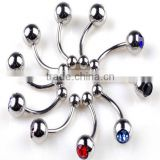 Hot Sale Cheap Lovely Anti-allergy 316L Stianless Steel Colorful Diamond Curve Nose Rings Body Piercing