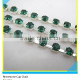 Rhinestone Chain Yard Ss30 6mm Green Crystal Silver Claw