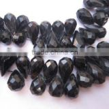 7 inch brown chalcedony facete7 inch black chalcedony faceted drops beads gemstone 6x10mm to 6x15mm to 8x15mm