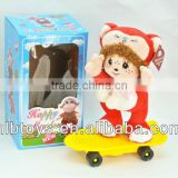 New arriving,Plush musical doll with scooter,Funny Plush Animal Doll