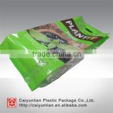 Custom printed 4 side sealed plant soil plastic bag, large size plant fertilizer package bag with hang hole