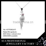 3D drawing design fashionable Bird shaped pendant cz micro setting china hip hop jewelry for boy