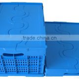 Collapsible and ventilated food use plastic basket with lid