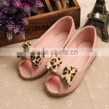2015 Mysterious and special girl summer shoes baby girl fish mouth leopard bow shoes for elegant little princess