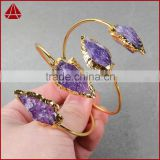 Fashion jewellery gold arrowhead amethyst quartz stone cuff bangle bracelet                                                                         Quality Choice