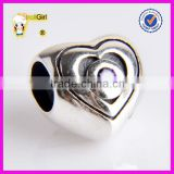 925 sterling silver heart charms beads with purple rhinestone charm beads for jewelry making
