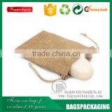"5x7"" handmade natural drawstring jute soap bag for packing"