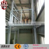 hydraulic vertical lead rail cargo platform lift guild rail lift for goods from China factory