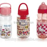 Plastic PET Drinking Bottle for Kids with Dome Lid Plastic Cartoon Cute Tumbler Plastic water bottle for Children with handle