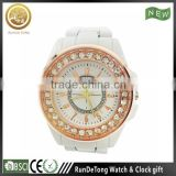 Beautiful white plastic quartz lady watch with rose gold bezel