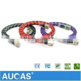 Aucas Brand High Speed Strong Braided Jacket Patch Cable 32AWG Cat7 SFTP Flat Patch Cord
