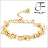 18k Gold Plated Adjustable Women's Bracelets Beads Bell Chain Wristband Wedding Bride Jewelry