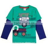 (A6318) NOVA garment new fashion design fancy cotton clothing embroidered cute car pattern baby boy long sleeve tshirt kids wear