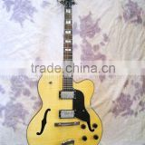 natural hollowbody jazz electric guitar with flamed maple top board