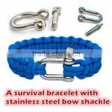 Paracord 550 Survival Bracelet with Stainless Steel Bow Shackle