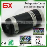 AKGQ 6x Optical Glass Zoom Telescope Lens With Crystal Back Case for iPhone 4