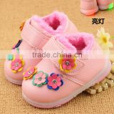 996 Hot sale baby girl flower decorative leather anti-slip soft sole shoes 2015
