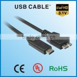 usb extension cable awm 2725 type C to mirco B usb 3.1 a cable usb 3.0/2.0 data cable