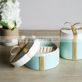 European style New design blue color bow leather cylinder jewelry box